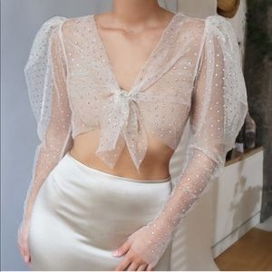 Sheer Sexy Crystal Tie Front Blouse